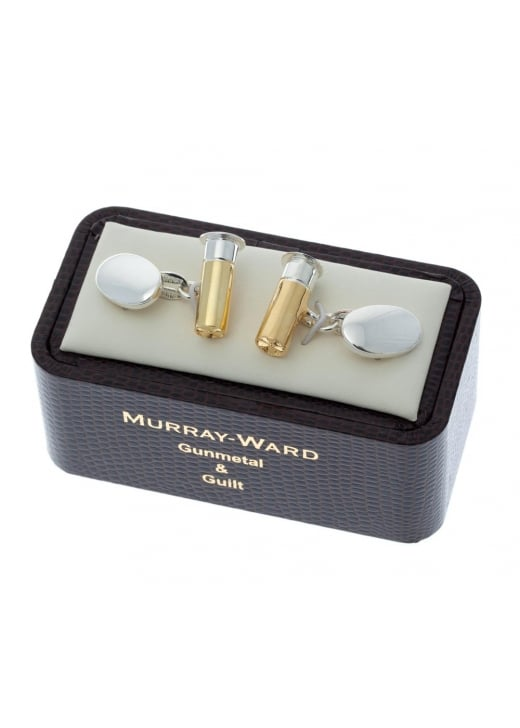 Murray Ward Gun Cartridge Gunmetal and Gilt Cufflinks