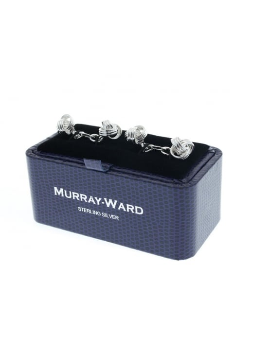 Murray Ward Knot and Bar Sterling Silver Cufflinks