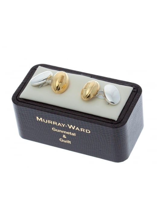 Murray Ward Rugby Ball Gunmetal and Gilt Cufflinks