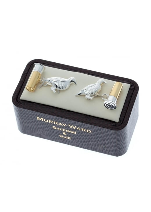Murray Ward Partridge and Cartridge Gunmetal and Gilt Cufflinks
