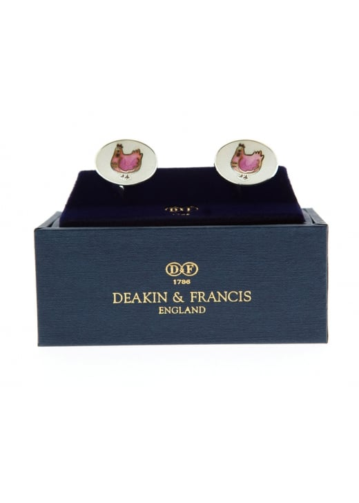 Deakin and Francis Raspberry Pink and Cream Enamel Hens