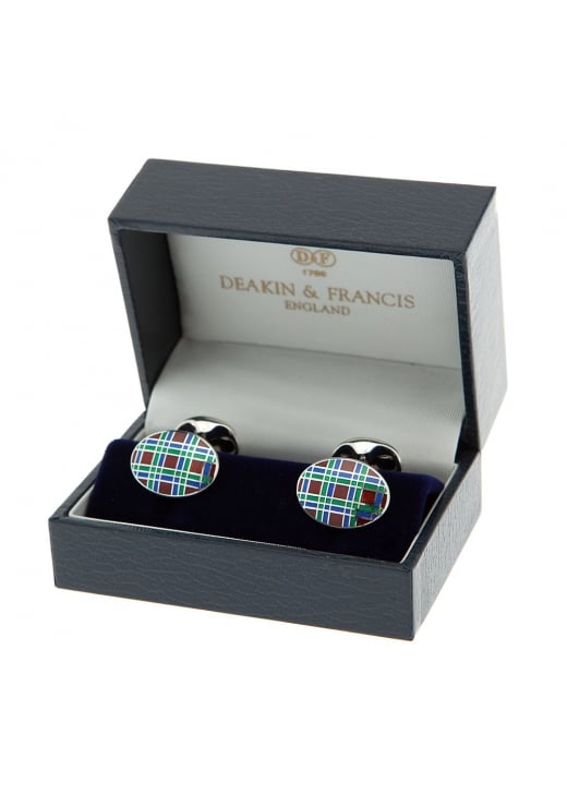 Deakin and Francis Royal Blue and Green Check Silver and Enamel Chain
