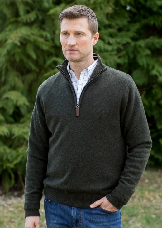 Schoffel Lambswool Windstop Zip Neck Jumper