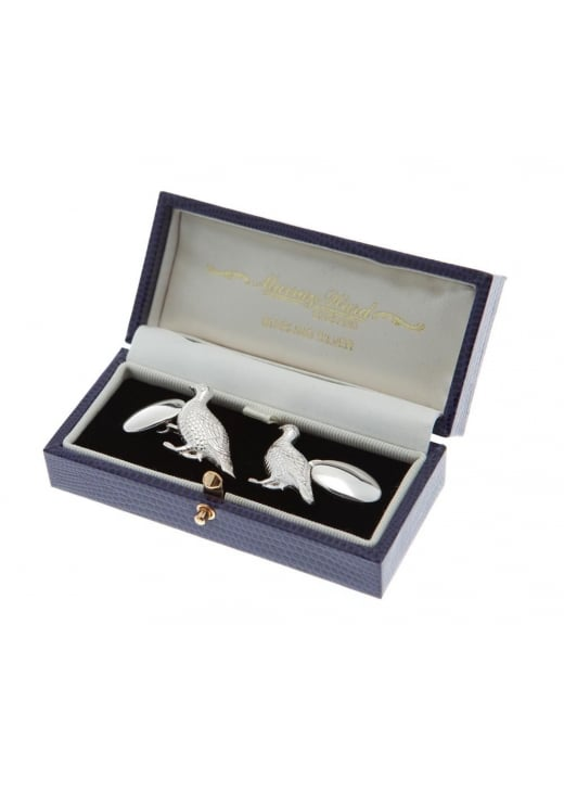 Murray Ward Standing Grouse Sterling Silver Cufflinks