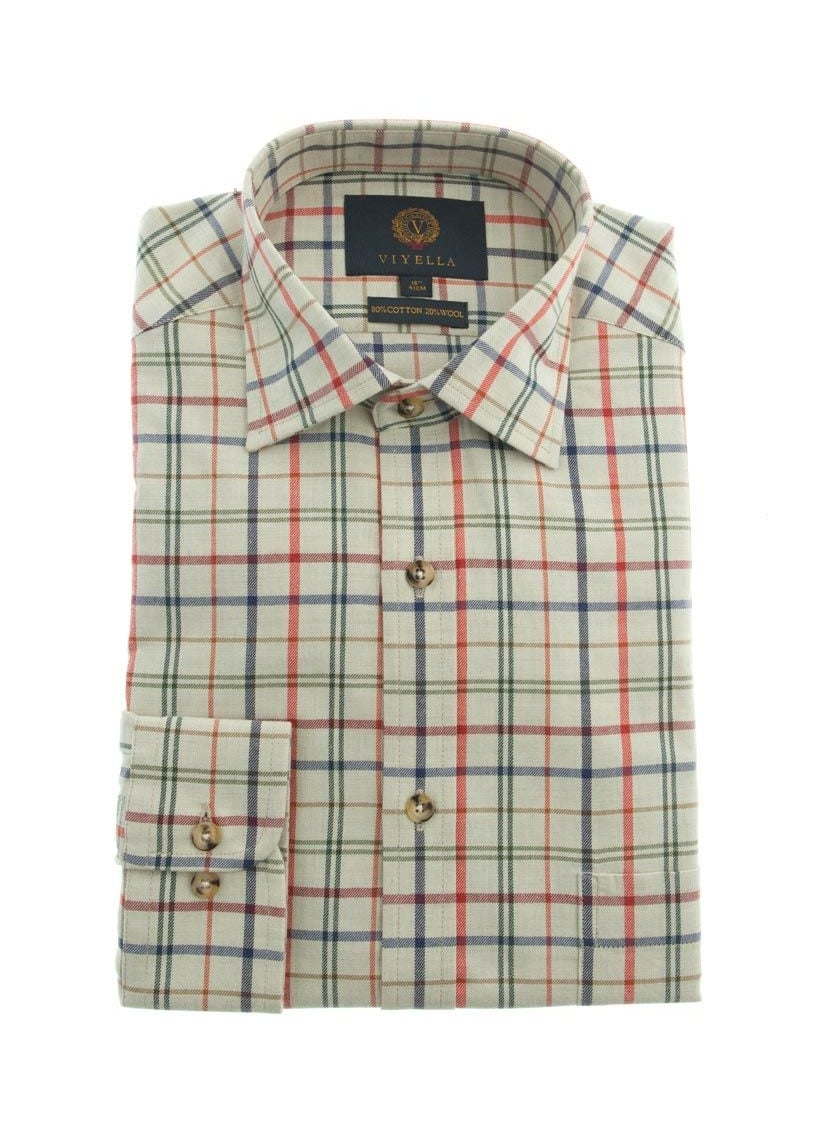 Viyella Coloured Ground Check Shirt  Large Image