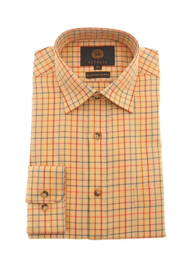 Viyella Coloured Ground Tattersall Shirt  Large Image